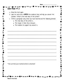 Close Read Worksheet