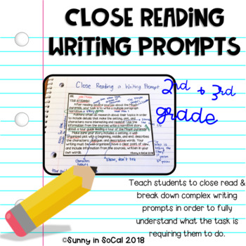 Close Read Writing Prompts
