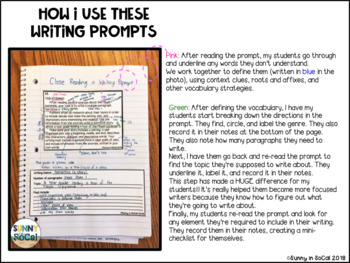 Close Read Writing Prompts Upper Elementary