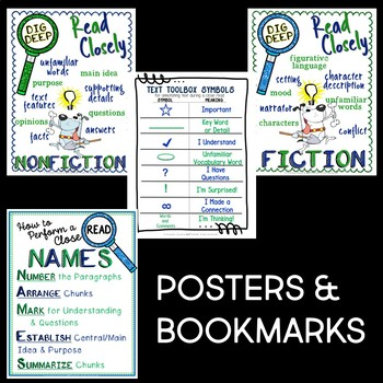 CLOSE READING AND ANNOTATION POSTERS, HANDOUTS, AND BOOKMARKS PACK