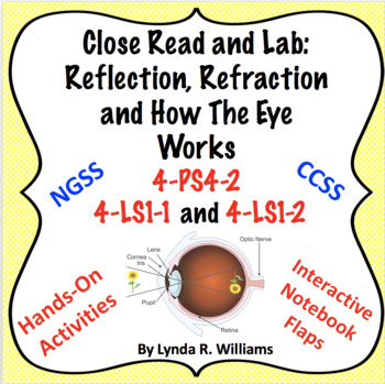 Close Read and Lab How The Eye Works NGSS 4-PS4-2, 4-LS1-1 and 4-LS1-2