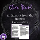Close Read of an Excerpt from the Iroquois Constitution