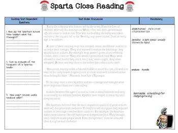 Close Read on Sparta SS.6.W.3.11 & SS.6.E.3.3