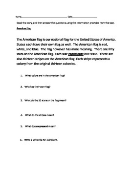 Close Read on The American Flag  - Short, Simple, with WH questions from text