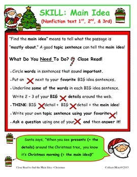 Close Read to get the Main Idea ~ Christmas Edition