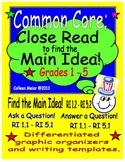Close Read to get the Main Idea ~ Grades 1 - 5