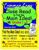 Close Read to get the Main Idea ~ Grades 1 - 5