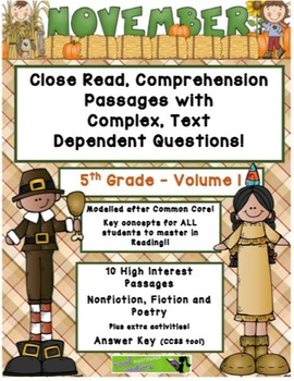 November 5th (V. 1) Common Core Close Read with Complex Text Dependent Questions