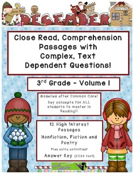December 3rd  Common Core Close Read Comprehension w/ Text