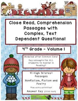 December 4th(V.1) Common Core Close Read Passages w/ Text Dependent Complex Qu.