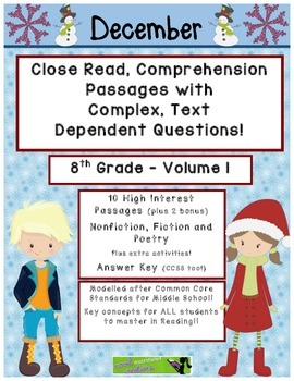 December 8th (V1) Common Core Close Read with Text Dependent Complex Questions