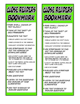 Close Readers Bookmark