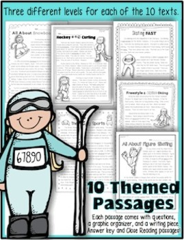 Close Reading: 10 Winter Sports Themed Passages w/ Text Evidence Activities