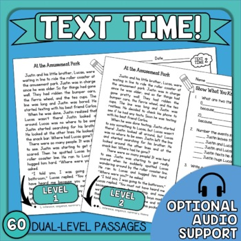 Close Reading Comprehension Passages and Questions