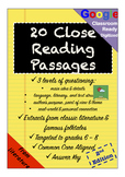 No-Prep Close Reading Comprehension Passages and Questions + GOOGLE DRIVE