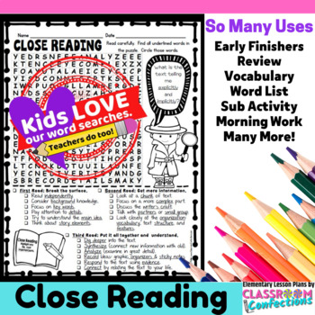 Close Reading Activity: Reading Word Search