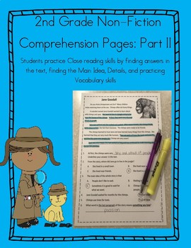 Close Reading 2nd Grade Non Fiction Comprehension Passages