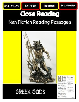 Close Reading 3rd, 4th, 5th Grade Non Fiction Passages: Greek Gods