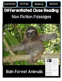 Close Reading 3rd, 4th, 5th, 6th Grade Non Fiction Passages: Rainforest Animals