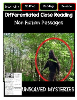 Close Reading 3rd, 4th, 5th, 6th Grade Non Fiction Passages: Unsolved Mysteries