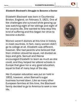 Close Reading Elizabeth Blackwell 3 Day FULL SCRIPTED Lesson RI SL 3.1 4.1 5.1