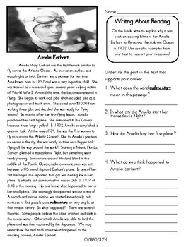 Close Reading 3rd, 4th, 5th Grade Non Fiction Reading Passages: Amelia Earhart