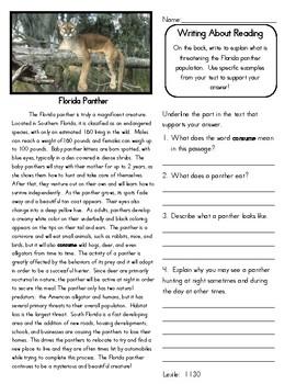 Close Reading 4th, 5th, 6th Grade Non Fiction Passages: Florida Animals