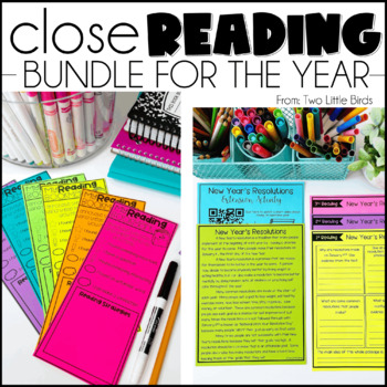 Close Reading Passages, Questions, Posters, Bookmarks, & Anchor Chart Bundle