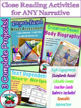 Close Reading Activities for ANY Narrative {3 Project Bundle}