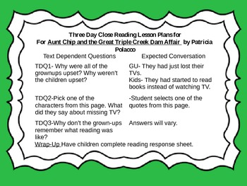 Close Reading Activities for Aunt Chip / Dam Affair by Patricia Polacco