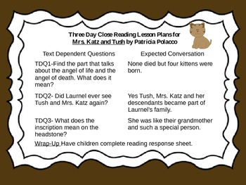 Close Reading Activities for Mrs. Katz and Tush by Patricia Polacco