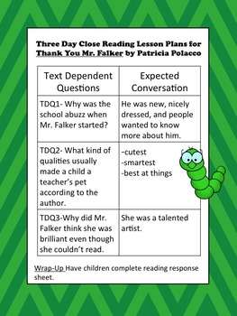 Close Reading Activities for Thank You Mr. Falker by Patricia Polacco