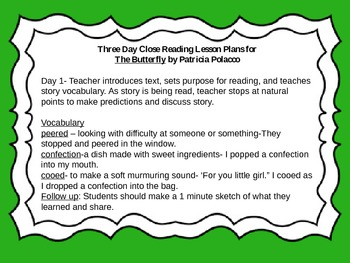 Close Reading Activities for The Butterfly by Patricia Polacco
