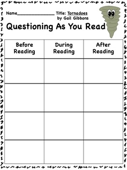 Close Reading Activities for Tornadoes by Gail Gibbons