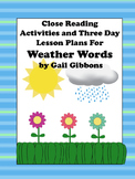 Close Reading Activities for Weather Words by Gail Gibbons