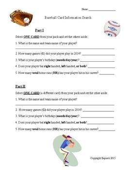 Close Reading Activity - Baseball Card