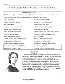 Close Reading Activity: CLARA BARTON w/ 20 questons for Reading Comprehension
