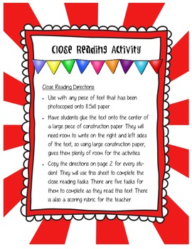 Close Reading Activity Can Be Used With Any Piece of Text