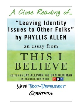 """Close Reading Activity:  """"Identity Issues"""" by Phyllis Allen"""