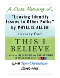 "Close Reading Activity:  ""Identity Issues"" by Phyllis Allen"