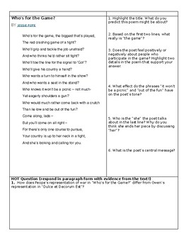 Close Reading Activity - War Poetry