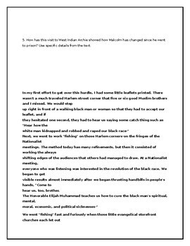 Close Reading Activity for Chapter 13 of The Autobiography of Malcolm X