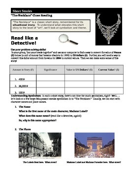 """Maupassant's """"The Necklace,"""" Close Reading Lesson"""
