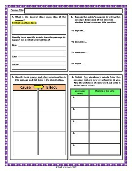 Close Reading Activity for Middle and High School Readers