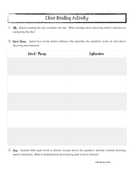 Close Reading Activity for Texts About Diversity and Inclusion