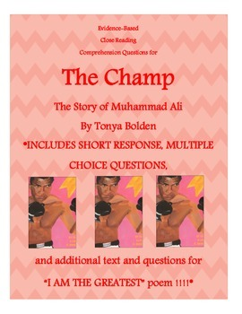 """Close Reading Activity for """"The Champ"""" and Muhammad Ali"""