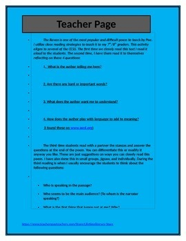 Close Reading Activity for The Raven By: Edgar Allen Poe