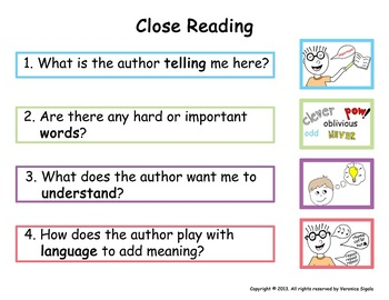 Close Reading Anchor Chart Poster