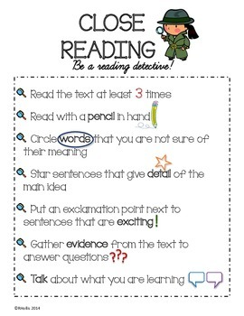 Close Reading Anchor Charts & Bookmark