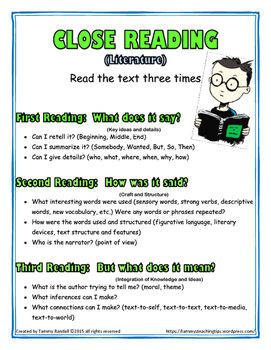 Close Reading Anchor Charts Freebie